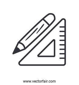 ruler and pencil line style icon vector design