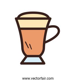 coffee mug line and fill style icon vector design