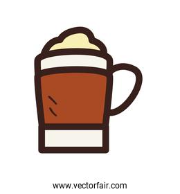 coffee mug with cream line and fill style icon vector design
