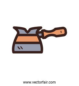 turkish coffee kettle line and fill style icon vector design