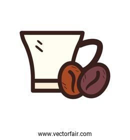 coffee mug with beans line and fill style icon vector design