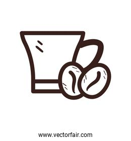 coffee mug with beans line style icon vector design