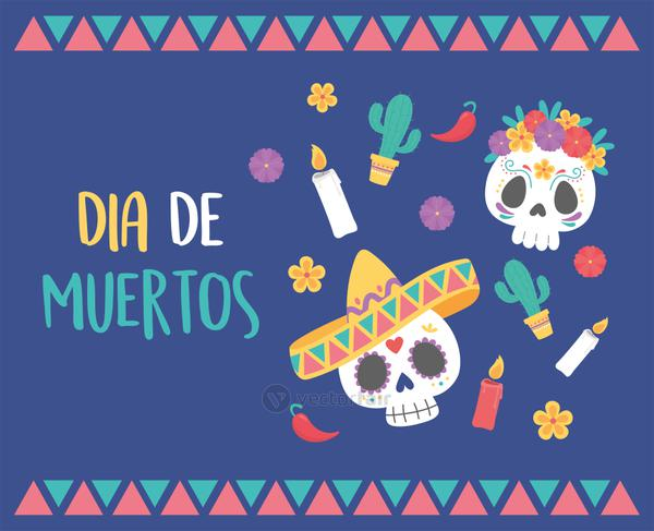 day of the dead, skulls hat flowers candles cactus, mexican celebration
