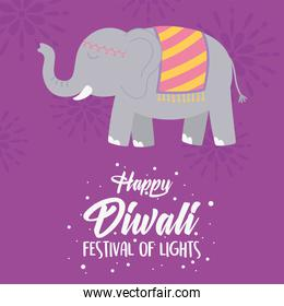 happy diwali festival, greeting card with elephant sacred animal poster vector design