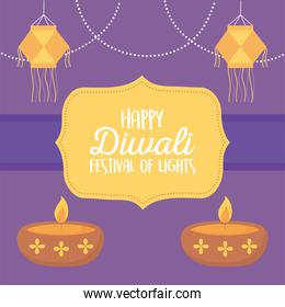 happy diwali festival, hanging lanterns and diya lapms with candles festival of lights, vector design