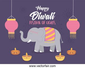 happy diwali festival, elephant lanterns and diya lamps with candles, vector design