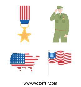 happy veterans day, medal soldier map and american flag icons