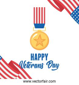 happy veterans day, gold star medal american flag, US military armed forces soldier