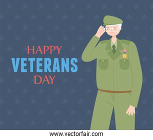 happy veterans day, US military armed forces soldier character