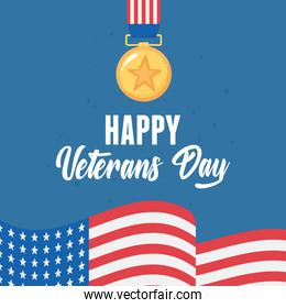 happy veterans day, medal award star flag american symbol, US military armed forces soldier