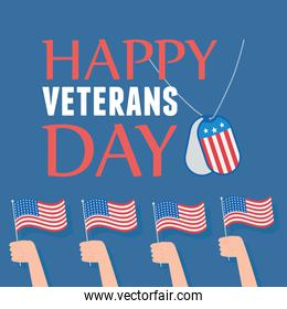 happy veterans day, hands with american flags national symbol, US military armed forces soldier