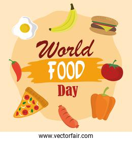 world food day, vegetable fruits burger pizza healthy lifestyle meal