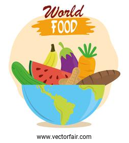world food day, fruits vegetables bread in bowl, healthy lifestyle meal