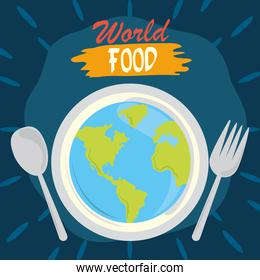 world food day, earth with fork and spoon poster, healthy lifestyle meal