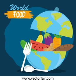 world food day, fruits vegetable inside planet with fork and spoon, healthy lifestyle meal