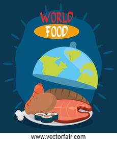 world food day, different proteins and bread in dish planet, healthy lifestyle meal