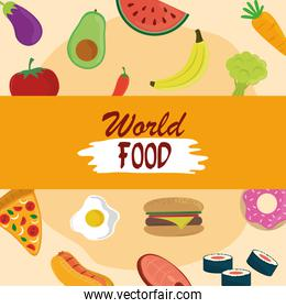 world food day, various fruit vegetable protein nutrition, healthy lifestyle meal