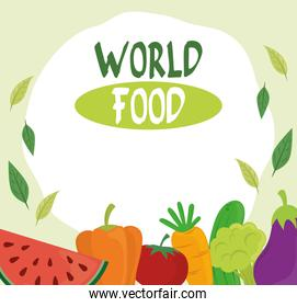 world food day, healthy lifestyle fruits vegetables diet poster