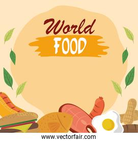 world food day, healthy lifestyle meat fish nuts egg bread poster