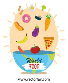 world food day, falling vegetable fruit diet in bowl, healthy lifestyle meal