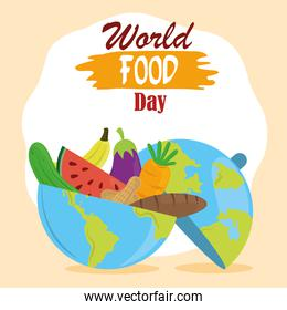 world food day, planet full with fruit vegetables and bread, healthy lifestyle