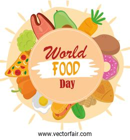 world food day, healthy lifestyle meal frame with circle shape