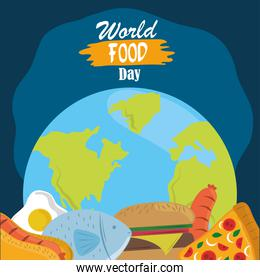 world food day, healthy lifestyle meal planet with fish meat burger hot dog