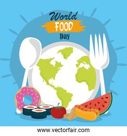 world food day, planet shaped dish spoon fork healthy lifestyle meal