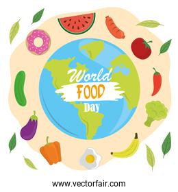 world food day, healthy lifestyle meal planet vegetables fruits icons poster