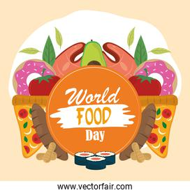 world food day, healthy lifestyle products nutrition banner