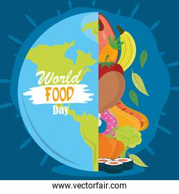 world food day, healthy lifestyle meal earth nutrition balance poster