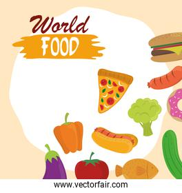 world food day, healthy lifestyle meal ingredients products nature background