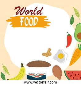 world food day, bread chicken fruit vegetable healthy lifestyle meal background