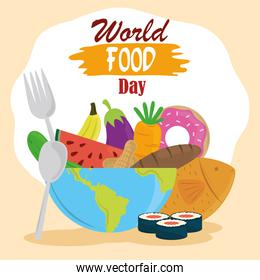 world food day, full planet with various prdoucts fork and spoon, healthy lifestyle
