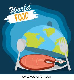 world food day, healthy lifestyle meal sushi and meat in the dish planet