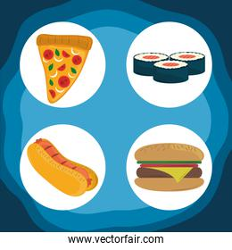 world food day, healthy lifestyle hot dog burger sushi and pizza icons