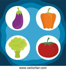 world food day, healthy lifestyle fresh vegetables eggplant pepper tomato and carrot