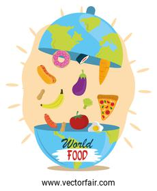world food day, dish cloche shaped earth with products, healthy lifestyle