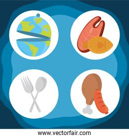 world food day, healthy lifestyle meat chicken sausage fork spoon icons
