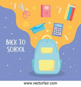back to school icons around and school backpack