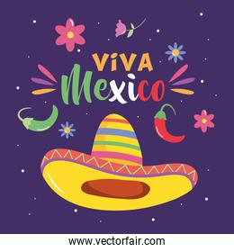 Mexico independence day design with mexican hat icon