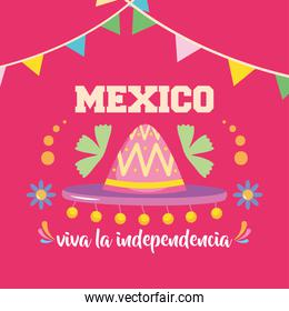 Mexico independence day design with mexican hat and decorative pennants