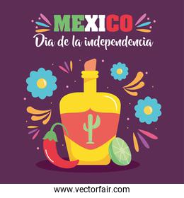 Mexico independence day design with tequila bottle and decorative flowers around
