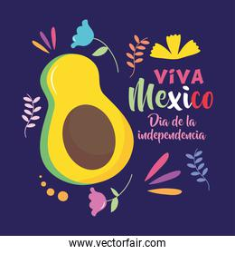 Mexico independence day design with avocado and decorative flowers around