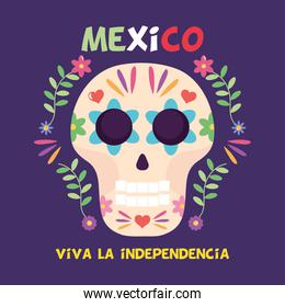 Mexico independence day design with sugar skull and decorative flowers around