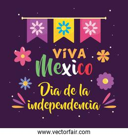 Mexico independence day design with decorative pennants and flowers