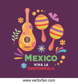 Mexico independence day design with mexican guitar and maracas