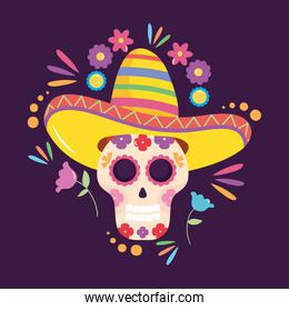 Mexico independence day design with sugar skull with mexican hat