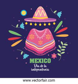 Mexico independence day design with mexican hat and poncho