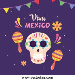 Mexico independence day design with sugar skull and maracas